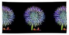 Beach Towel featuring the digital art Neon Dandelion X Three by Aliceann Carlton