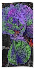 Neon Iris Dark Background Beach Towel