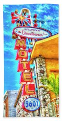 Neon Motel Sign Beach Towel by Jim And Emily Bush