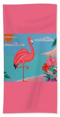 Neon Island Flamingo Beach Towel