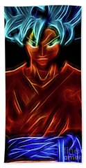 Neon Ss God Goku Beach Towel
