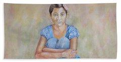 Nepal Girl 4 Beach Towel by Marty Garland