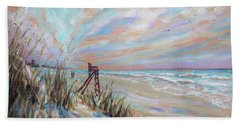 Beach Towel featuring the painting Neptune Lifeguard Chair by Linda Olsen