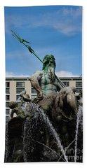 Neptune Statue Beach Towel