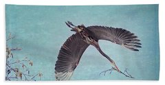 Nesting Heron In Flight Beach Sheet