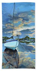 Beach Towel featuring the painting Nestled In For The Night At Mylor Bridge - Cornwall Uk - Sailboat  by Jan Dappen