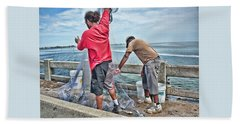 Net Fishing On Cortez Bridge  Beach Sheet by Glenn Gemmell