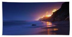 Netanya Beach At Night Beach Sheet