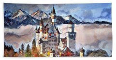 Beach Sheet featuring the digital art Neuschwanstein Castle by Pennie McCracken