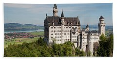 Neuschwanstein Castle With Village Beach Towel