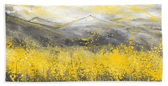 Neutral Sun - Yellow And Gray Art Beach Towel