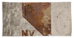 Nevada State Map Industrial Rusted Metal On Cement Wall With Founding Date Series 044 Beach Towel