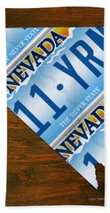 Nevada The Silver State Recycled License Plate Map Art Beach Towel