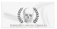 Never Fear The Shadows Stoic Skull With Laurels Beach Towel