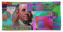 New 2009 Series Pop Art Colorized Us One Hundred Dollar Bill  No. 3 Beach Towel