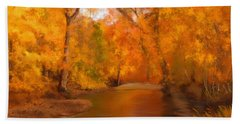 New England Autumn In The Woods Beach Sheet