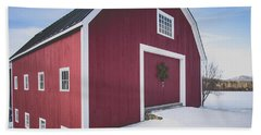 Beach Towel featuring the photograph New England Red Barn Winter Orford by Edward Fielding