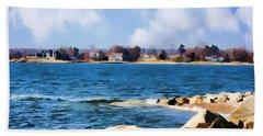 New England Shoreline - Painterly Beach Sheet by Judy Palkimas