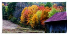 Beach Towel featuring the photograph New England Tobacco Barn In Autumn by Smilin Eyes  Treasures