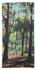 New Forest Trees With Shadows Beach Towel by Martin Davey