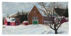 New Hampshire Farm In Winter Beach Towel