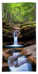 New Hampshire Sabbaday Falls And Fall Foliage Panorama Beach Sheet by Ranjay Mitra