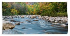 New Hampshire Swift River And Fall Foliage In Autumn Beach Sheet