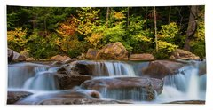 New Hampshire White Mountains Swift River Waterfall In Autumn With Fall Foliage Beach Sheet by Ranjay Mitra