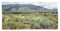 Beach Sheet featuring the photograph New Mexico Sandia Mountains Foothills Spring Landscape by Andrea Hazel Ihlefeld