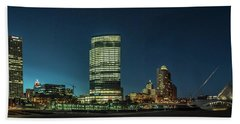 Beach Sheet featuring the photograph New Milwaukee Skyline by Randy Scherkenbach