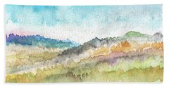 New Morning- Watercolor Art By Linda Woods Beach Towel