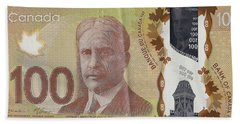New One Hundred Canadian Dollar Bill Beach Towel