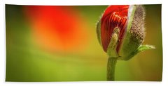 New Orange Poppy Bloom Beach Sheet