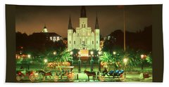 New Orleans Night Photo - Saint Louis Cathedral Beach Towel