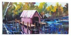 Beach Sheet featuring the painting New River Boathouse by Jim Phillips