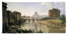 New Rome With The Castel Sant Angelo Beach Towel