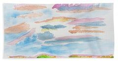 Beach Towel featuring the painting Strawberry Skies Watching by Meryl Goudey