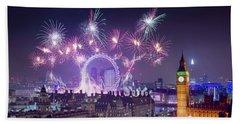 New Year Fireworks London Beach Towel
