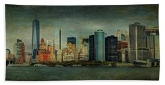 Beach Towel featuring the mixed media New York After Storm by Dan Haraga