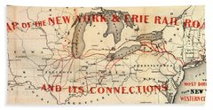 Beach Towel featuring the photograph New York And Erie Railroad Map 1855 by Daniel Hagerman