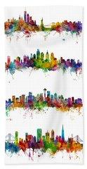 New York, Philadelphia, Seattle And San Francisco Skylines Beach Towel