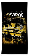 Beach Sheet featuring the digital art New York Cab by Kim Gauge
