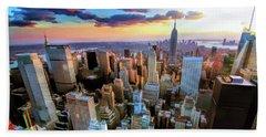 New York City Downtown Manhattan Beach Towel