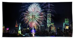 New York City Harbor Fireworks Beach Towel