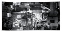 New York City Hot Dog Stand Beach Towel by Mark Andrew Thomas