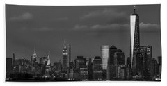 Beach Towel featuring the photograph New York City Icons Bw by Susan Candelario