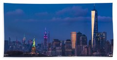 Beach Towel featuring the photograph New York City Icons by Susan Candelario