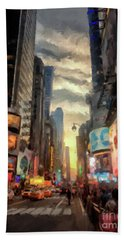 Beach Towel featuring the photograph New York City Lights by Lois Bryan