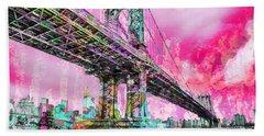 New York City Manhattan Bridge Red Beach Towel