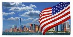 New York City Manhattan Skyline Ferry Flag Beach Towel